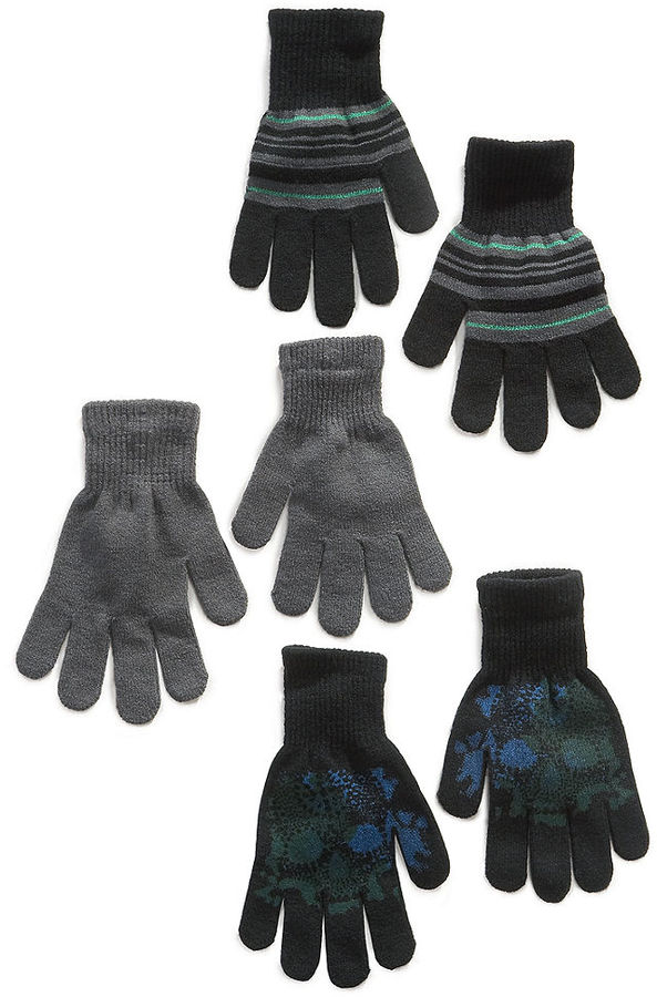 Greendog Kids Gloves, Boys 3-Pack Gloves