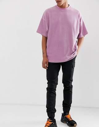 Asos Design DESIGN skinny cargo trousers in black