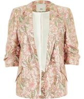 River Island Womens Pink floral jacquard ruched sleeve blazer