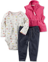 Carter's 3-Pc. Quilted Vest, Bodysuit and Jeans Set, Baby Girls (0-24 months)