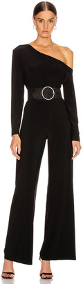 Norma Kamali Long Sleeve Drop Shoulder Jumpsuit in Black | FWRD