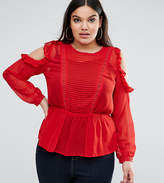 Asos Ruffle Cold Shoulder Blouse With Pintuck Front And Lace Insert