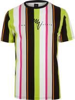 Mens Neon green stripe slim fit T-shirt
