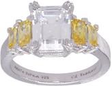 Judith Ripka Sterling Diamonique & Canary Diamonique Ring