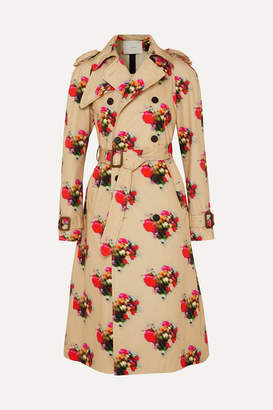 ADAM by Adam Lippes Floral-print Cotton-twill Trench Coat - Beige