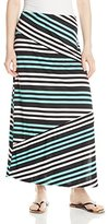 Notations Women's Petite Printed Spliced 3 Panel Maxi Skirt