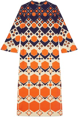 Gucci Long G hexagon print wool silk dress