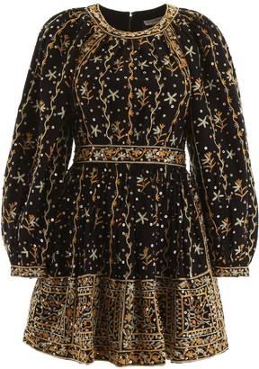Ulla Johnson DAYA SEQUINS DRESS 4 Black, Green, Yellow Linen