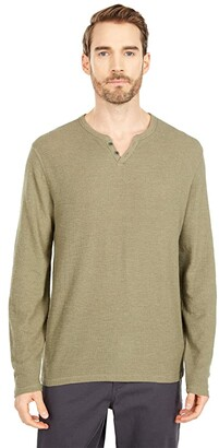 Lucky Brand Long Sleeve Thermal Button Notch Tee (Drizzle) Men's Clothing