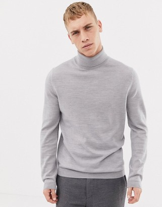 Asos Design DESIGN merino wool roll neck sweater in pale gray