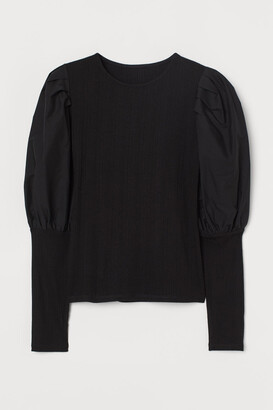 H&M Ribbed Puff-sleeved Top - Black