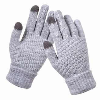 Hshduti Winter Gloves Knit Touch Screen Women Solid Color Touch Screen Full Finger Woolen Warm Knitted - Grey