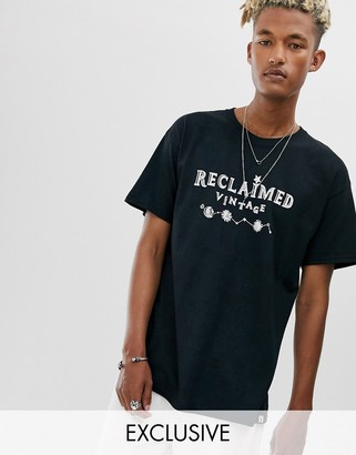 Reclaimed Vintage branded tshirt with mini sun and moon-Black