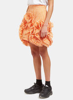 MSGM Women's Seersucker Checked Ruffle Mini Skirt in Orange and White
