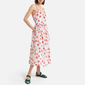 La Redoute Collections Fruit Print Cotton Midaxi Dress with Shoestring Straps
