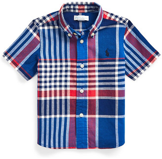 Ralph Lauren Logo-embroidered checked cotton shirt 2-14 years