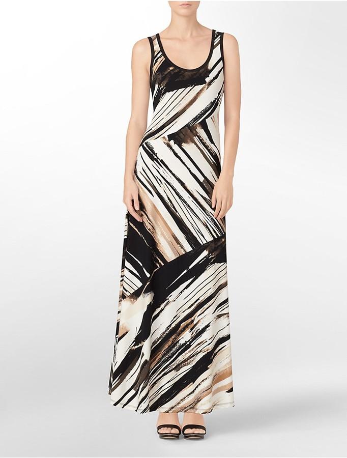 Calvin Klein Abstract Print Bias Cut Sleeveless Maxi Dress