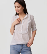 LOFT Striped Ruffle Bib Shirt