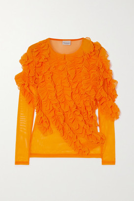 Dries Van Noten Ruffled Stretch-tulle Top - Orange