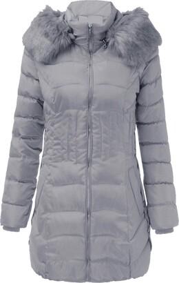 Toamen Women's Top Toamen Womens Coat Fashion Winter Warm Long Jacket Cotton Slim Parka Trench Outwear Sweatshirt Overcoat(Gray 10)