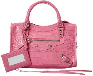 Balenciaga Classic City Mini Croc-Embossed Leather Shoulder Bag