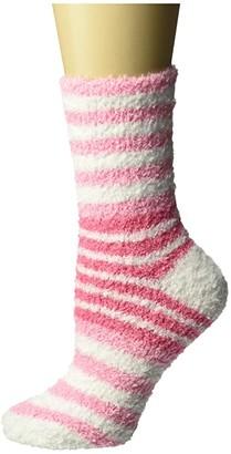 Karen Neuburger Color Block Stripe Chenille Sock (Pink Petal) Women's Crew Cut Socks Shoes