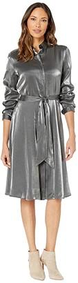 Lauren Ralph Lauren Satin Shirtdress (Black/Gunmetal) Women's Dress