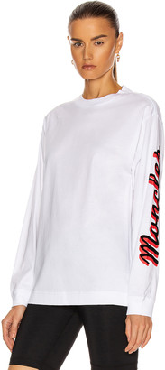 Moncler Girocollo Long Sleeve T-Shirt in White | FWRD