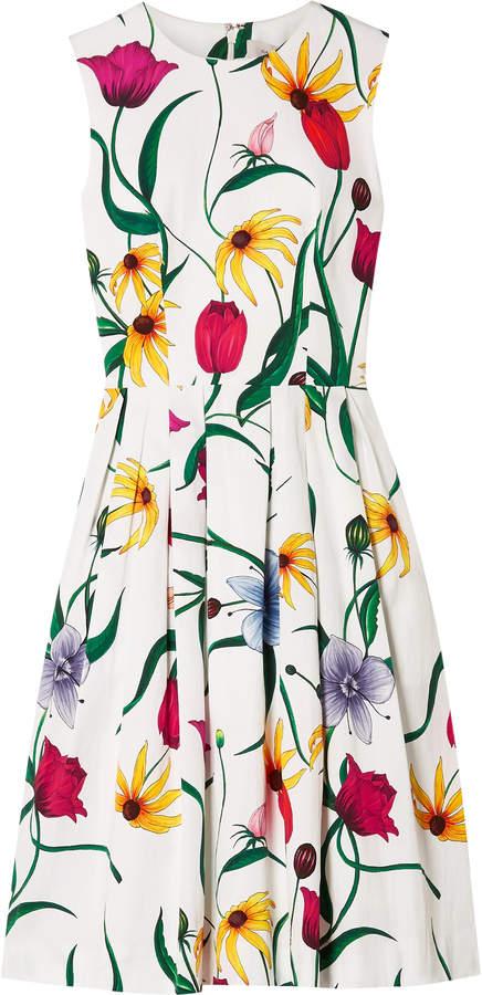Carolina Herrera Pleated Floral-print Cotton-blend Faille Dress