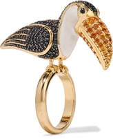 Noir Gold-Tone Crystal And Enamel Ring