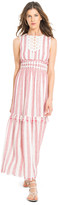 Max Studio Striped Linen Gauze Long Dress
