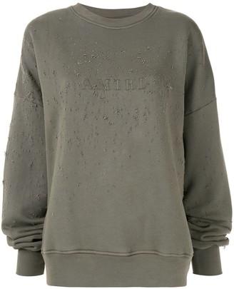Amiri logo distressed sweatshirt