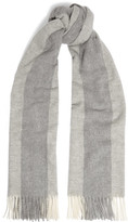 Acne Studios Canada Bengal Fringed Striped Wool Scarf - Gray