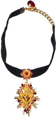Dolce & Gabbana Black Velvet Band Crystal Heart Pendant Choker