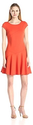 Sharagano Women's Cap Sleeve Ponte Fit and Flare Dress