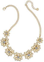 """Charter Club Gold-Tone Crystal & Stone Flower Statement Necklace, 17"""" + 2"""" extender, Created for Macy's"""