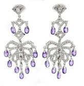 Sparkling Dancer - Delightful Chandelier Earrings with White & Amethyst CZs