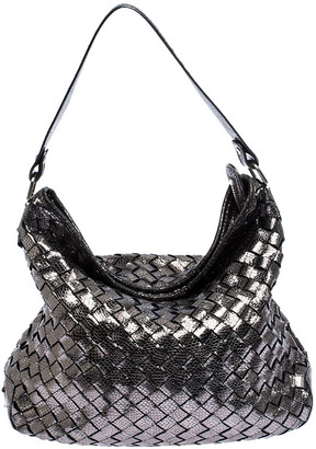 MICHAEL Michael Kors Michael Kors Metallic Grey Woven Leather Newbury Hobo