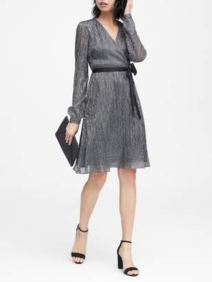 Banana Republic Petite Pleated Metallic Faux-Wrap Dress