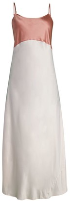 Ginia Camille Silk-Blend Colorblock Slip Dress