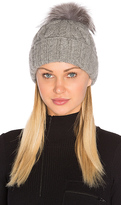 Eugenia Kim Andrea Beanie with Arctic Fox Fur Pom-Pom in Grey.