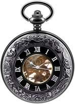 Infinite U Half Hunter Vintage Hollow Skeleton Pendant Necklace Hand Wind Mechanical Pocket Watch