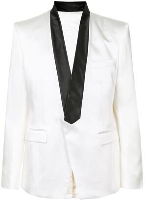 Balmain Two-Tone Shawl Collar Blazer