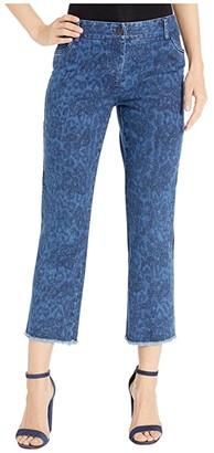 Elliott Lauren Printed Denim Five-Pocket Jeans with Frayed Hem in Blue (Blue) Women's Jeans