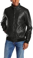 Tommy Hilfiger Men's Faux Leather Stand Collar Bomber Jacket