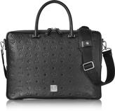 MCM Ottomar Black Monogram Leather Medium Briefcase