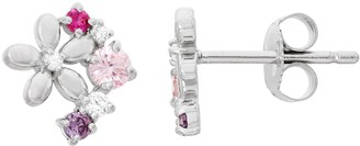 Junior Jewels Kids' Sterling Silver Cubic Zirconia Flower Stud Earrings