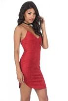 AX Paris Red Faux Suede Mini Dress