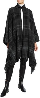 Ralph Lauren Cashmere Plaid Fringe Sweater Cape
