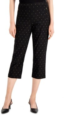JM Collection Petite Tummy-Control Foil-Print Capri Pants, Created for Macy's